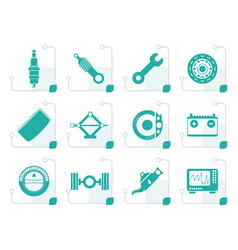 stylized realistic car parts and services icons vector image