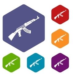 Submachine gun icons set vector image