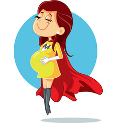 super mom pregnant super heroine character vector image