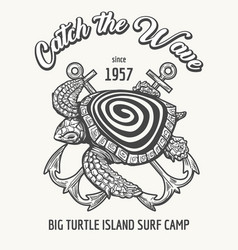 surf camp emblem vector image