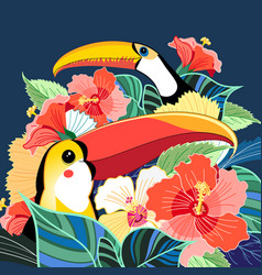 toucans paradise and plants vector image