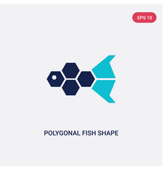 two color polygonal fish shape small triangles vector image