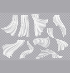 Window curtains flowing blank fabric with folds vector