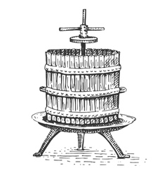 Wine press vintage engraved hand drawn vector