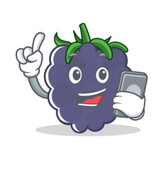 with phone blackberry character cartoon style vector image