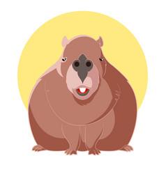 cartoon smiling capybara vector image