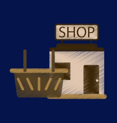 flat icon in shading style shop basket vector image