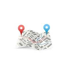 Folded map icon with track between GPS points on vector image