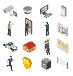 Home Security Service Isometric Icons Set vector image vector image