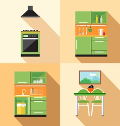 Kitchen home decoration set flat style Digital ima vector image vector image