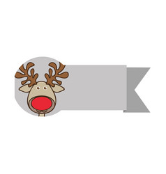 ribbon with face reindeer christmas animal vector image vector image
