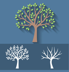 tree and tree without leaves icon vector image vector image