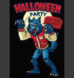 werewolf of halloween vector image