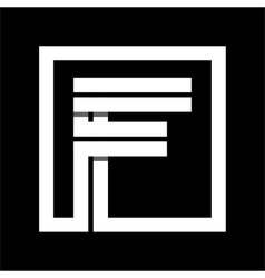 Capital letter F From white stripe enclosed in a vector image vector image