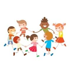 Children round dancing party dance in baby club vector