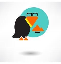 Cute raven cartoon waving vector image vector image