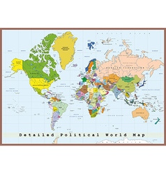 Detailed political world map with capitals vector image
