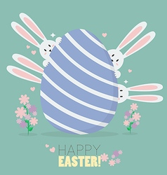 Happy easter with bunnies and easter egg vector image