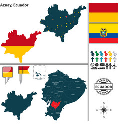 map of azuay ecuador vector image vector image