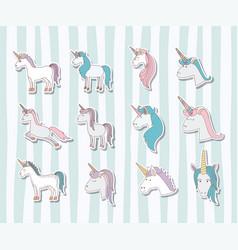 set unicorns poses icons vector image