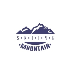Skiing Mountain Emblem Design vector image