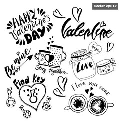 valentine set vector image vector image