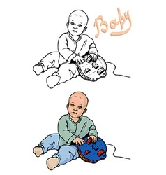 baby plays with a toy vector image
