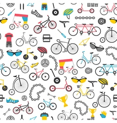 Bicycle seamless pattern Colour flat design vector image vector image