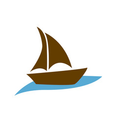 brown silhouette boat in the blue ocean vector image vector image
