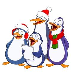 Caroling penguins vector