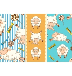 cartoon set with funny sheep Two seamless patterns vector image