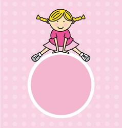 girl pink frame vector image