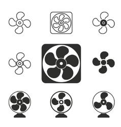 Fan icon set vector image vector image