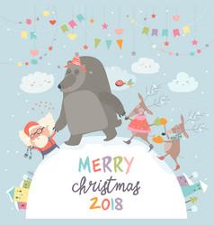happy santa reindeers and bear celebrating vector image vector image