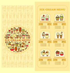 ice cream menu card set of cute desserts icons vector image vector image