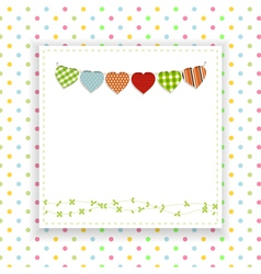 Polka dot background with panel and bunting vector image vector image