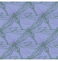 Seamless pattern with dragonfly on purple vector image