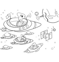 With planets space coloring for adults vector