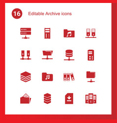 16 archive icons vector image