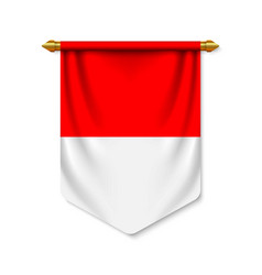 3d realistic pennant with flagn vector