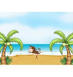 A monkey dancing on beach vector