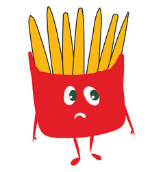 A sad french fries packet or color vector