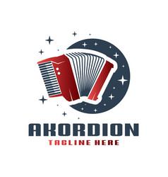 accordion musical instrument logo vector image