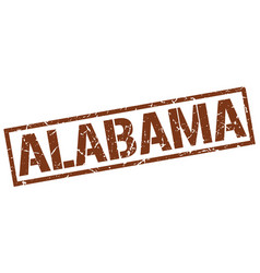 Alabama brown square stamp vector