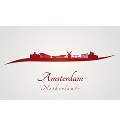 Amsterdam skyline in red vector image