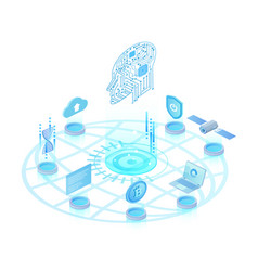 artificial intelligence light isometric vector image