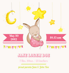 baby girl kangaroo sleeping on a star baby shower vector image