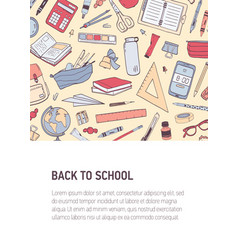 back to school vertical flyer or poster template vector image