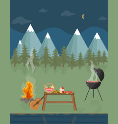 barbecue picnic in the mountains at night green vector image