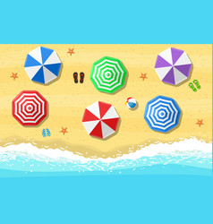 beach sun umbrellas flip-flops and beach vector image